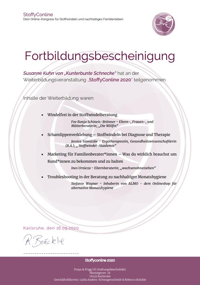 Fortbildungen - Stoffyconline 2020